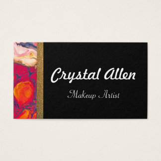 Pink Floral Gold Glitter Make Up Artist Business Card