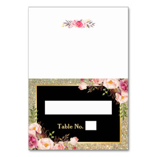Pink Floral Gold Glitter Stripes Wedding Place Card