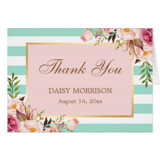 Pink Floral Gold Mint Green Stripes Thank You Note Card