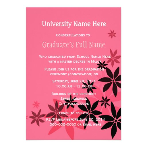 Pink floral graduation ceremony (convocation) invitations