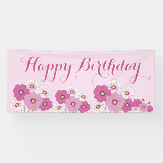 Pink Floral Happy Birthday Banner