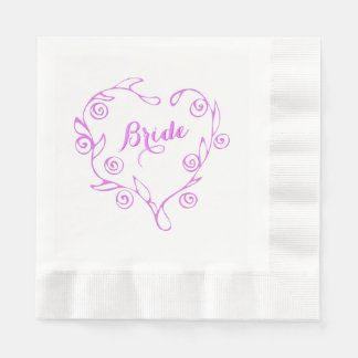 Pink Floral Heart Bridal Shower Napkin Disposable Napkin