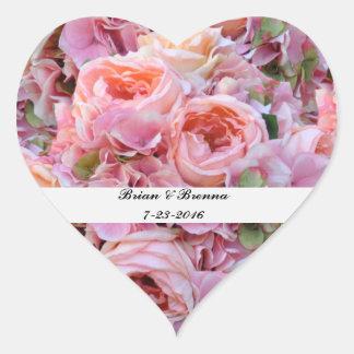 Pink Floral Heart Wedding Stickers & Envelope Seal