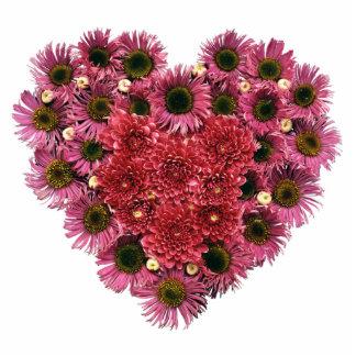 Pink Floral Heart Wreath Standing Photo Sculpture