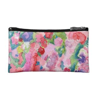 Pink Floral Impressionist Art Cosmetic Bag
