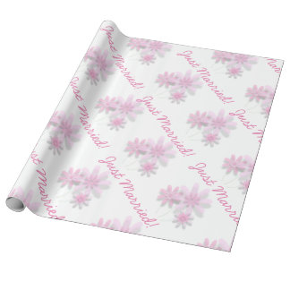 "Pink Floral ""Just Married!"" Linen Wrapping Paper"