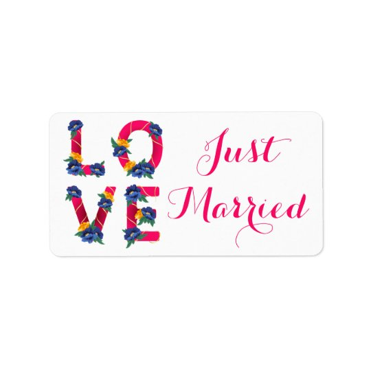 Pink Floral Just Married Love Wedding Announcement