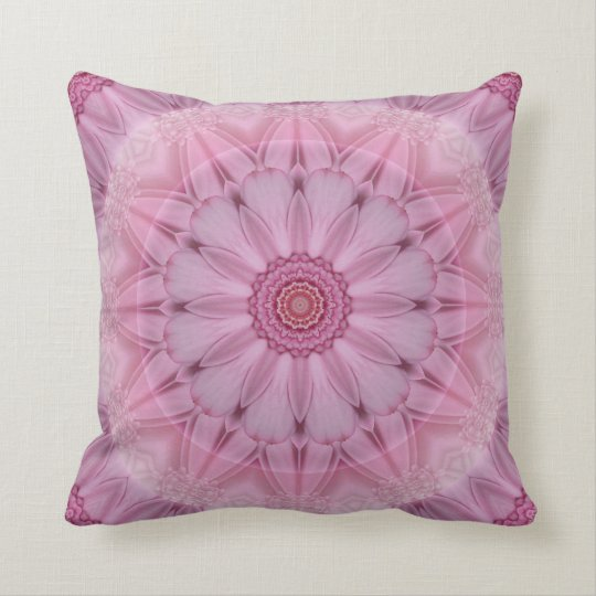 Pink Floral Kaleidoscope Romantic Pillow