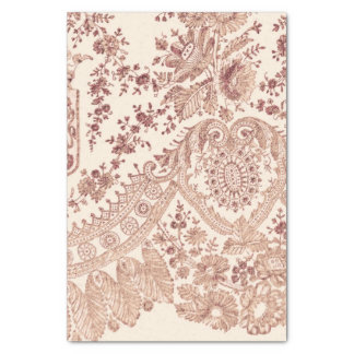 Pink Floral Lace With Roses Tissue Paper