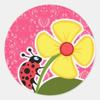 Pink Floral; Ladybug Sticker