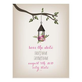 Pink Floral Lantern Tree Save The Date Postcard