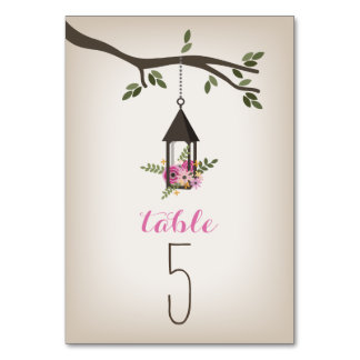 Pink Floral Lantern & Tree Wedding Table Number