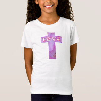 Pink Floral Love Cross Tee For Kids