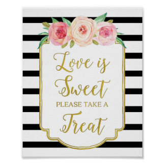 Pink Floral Love is Sweet Sign Gold Black Stripes