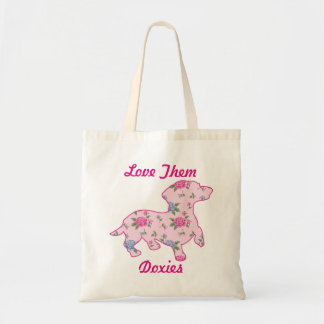 Pink Floral Love Them Doxies Tote