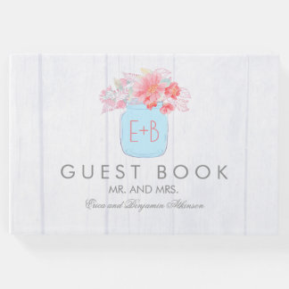 Pink Floral Mason Jar Rustic Wedding Guest Book