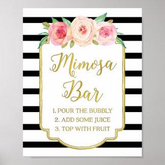 Pink Floral Mimosa Bar Sign Gold Black Stripes