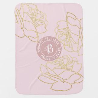 pink floral monogram baby baby blanket