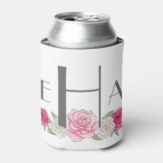 Pink Floral Monogrammed Coozie, enjoy life Can Cooler