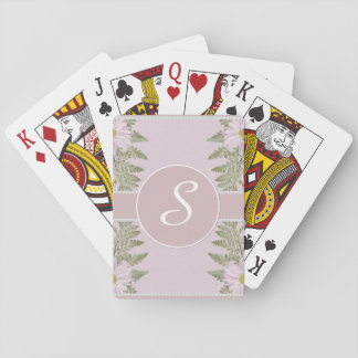 Pink Floral Monogrammed Playing Cards