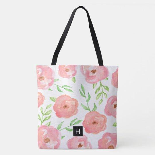 Pink Floral Monogrammed Tote Bag