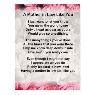 Pink Floral -  Mother in Law Poem Postcard