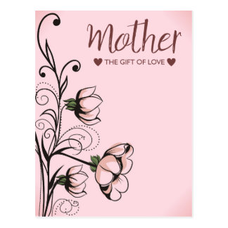 Pink Floral Mothers Day Greetings Postcard