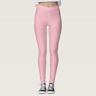 Pink Floral Motif on White Leggings