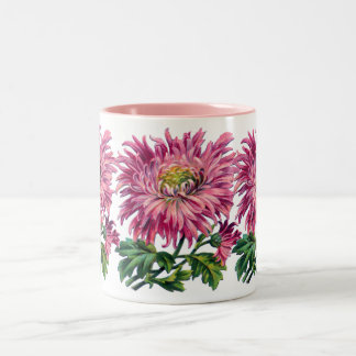 Pink floral mug,mum Two-Tone coffee mug