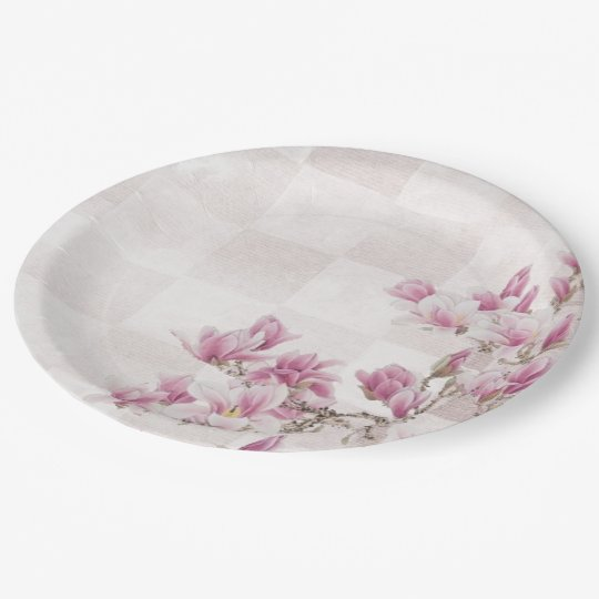 Pink Floral on Chequerboard 9 Inch Paper Plate