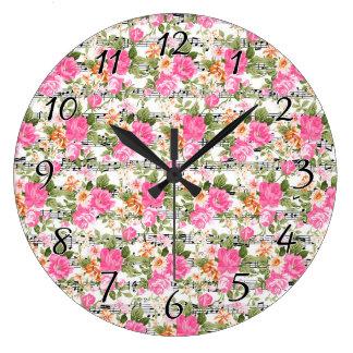 Pink Floral on Sheet Music Large Clock