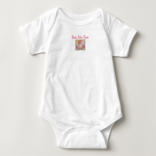 Pink Floral Original Art Design Baby Bodysuit