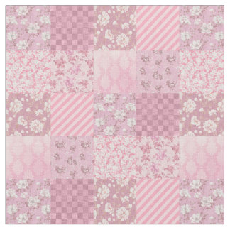 Pink Floral Patchwork Fabric