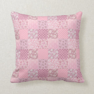 Pink Floral Patchwork Throw Pillow