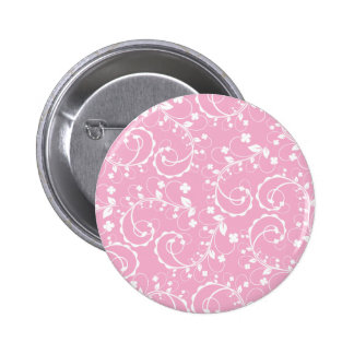 pink floral pattern 2 inch round button