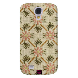 Pink Floral Pattern Cross-Stitch Design