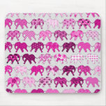 Pink Floral Pattern Elephants Mouse Pad