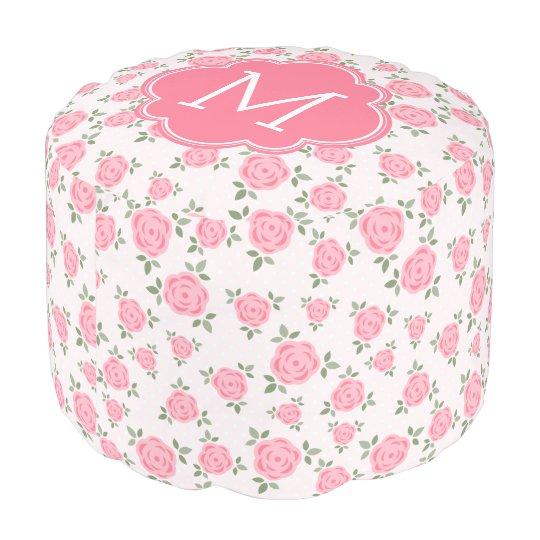 Pink Floral Pattern Monogrammed Pouf