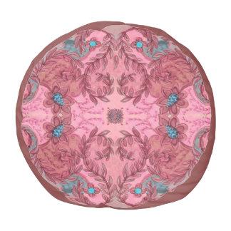 Pink floral pattern pouf