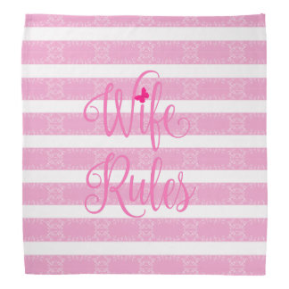 Pink Floral Pattern Wife Rules Bandana