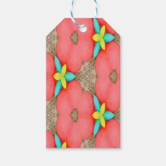 Pink floral Pattern with Yellow accent basketweave Gift Tags