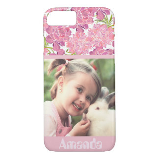Pink floral personalized photo and name iPhone 8/7 case