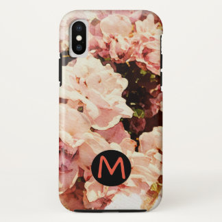 Pink Floral Phone Case with Custom Letter