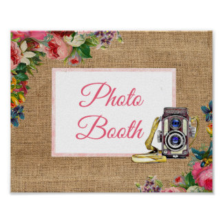 Pink Floral Photo Booth Wedding Sign Poster