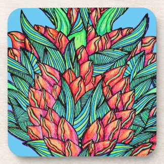 Pink floral plastic coaster - set of 6
