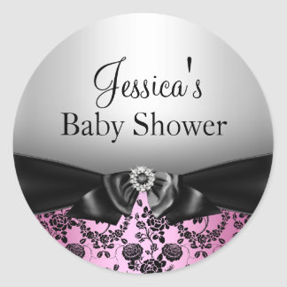 Pink Floral Print Bow Baby Shower Sticker