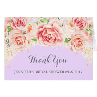 Pink Floral Purple Bridal Shower Thank You Card