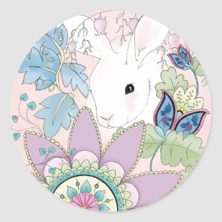 Pink Floral Rabbit sticker