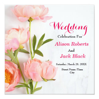 Pink Floral Reception Card