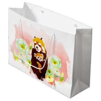 Pink Floral Red Panda Mom Baby Gift Bag